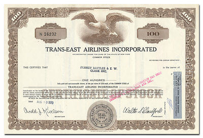 Trans-East Airlines, Inc. Stock Certificate (Bangor, Maine)