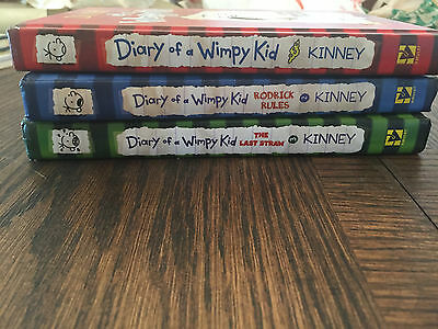Diary of a Wimpy Kid by Jeff Kinney lot (1-3) HARDCOVER