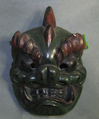 SALE! Real Japanese Noh Mask Lacqered Tsuina Oni Monster Black made in Showa Era