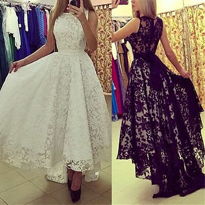 Women Lace Formal Evening Prom Party Cocktail Bridesmaid Wedding Ball Gown Dress