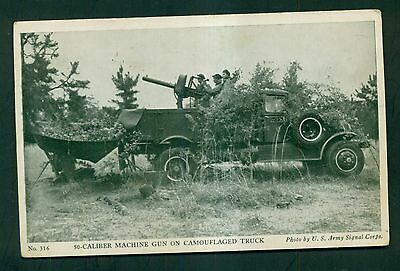 1941 U.S. Army Recruiting Postcard - Machine Gun on Camouflaged Truck