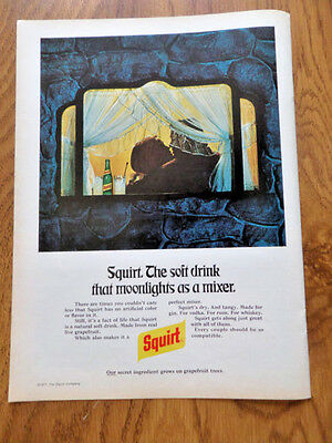 1972 Squirt Soda Pop Bottle Ad The Soft Drink that Moonlights as a Mixer