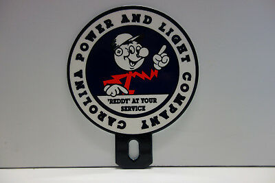 CAROLINA POWER AND LIGHT Reddy Kilowatt Enamel Plate Topper ELECTRICIAN GIFT