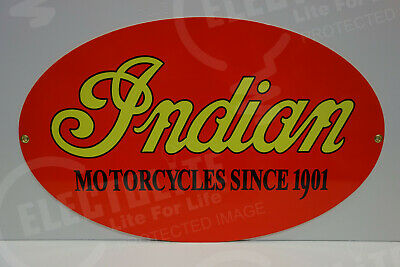 NOS INDIAN MOTORCYCLE DEALER PARTS DEPARTMENT DIE CUT Rare ENAMEL OVULAR SIGN