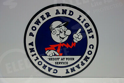 Carolina Power And Light Die Cut Awesome Heavy, Thick Sign Great Color