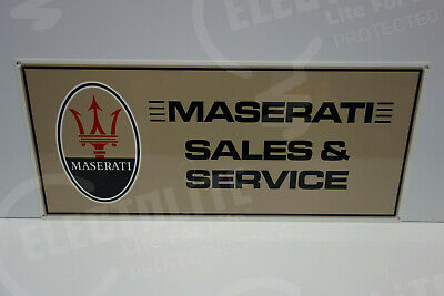 "Maserati Sales & Service Dealership Sign. 9 1/2"" X 22"" Very Clean Nos Piece!"