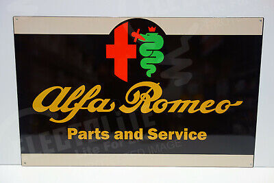 Alfa Romeo PARTS & SERVICE DEALER SIGN. 15 BY 24. ENAMEL COAT STEEL. PRISTINE!