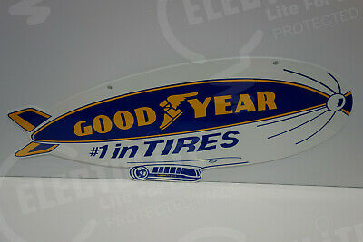 """LARGE 2 SIDED GOODYEAR BLIMP SIGN 10 1/2"""" high by 28"""" wide. AWESOME"""