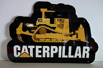 "CATERPILLAR D9 STEEL DEALER DIE CUT Sign Rare 2004-2005 ENAMEL 20"" BY 30"""