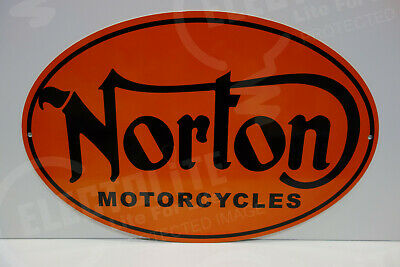 NOS NORTON MOTORCYCLE DEALER PARTS DEPARTMENT DIE CUT Rare ENAMEL OVULAR SIGN