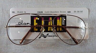 Vintage Elan 34 Gold/Chocolate Brown 58/18 Double Br Aviator Eyeglass Frame NOS