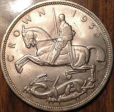 1935 Uk Gb Great Britain Silver Crown Uncirculated/uncirculated +