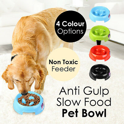 Anti Gulp Slow Food Pet Bowl Feeder Cat Dog Non Toxic Animal Accessories