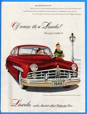 Vintage 1949 Lincoln Cosmopolitan Sport Red Sedan Art Decor Original Print Ad
