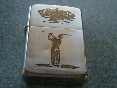 1967 Man Golfing Zippo Lighter New Hinge Older Insert Has Wear Works Good