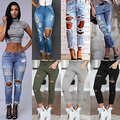 Women Ripped Knee Jeans Pants Denim Stretch Trousers Skinny Jeggings Plus Size