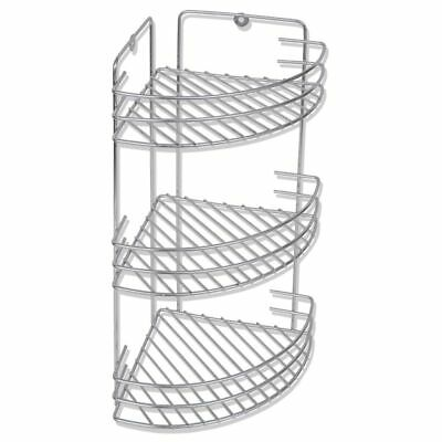 Wall Mounted Metal Shower Corner Shelf 3-Tier Free Standing Silver Rustproof✓