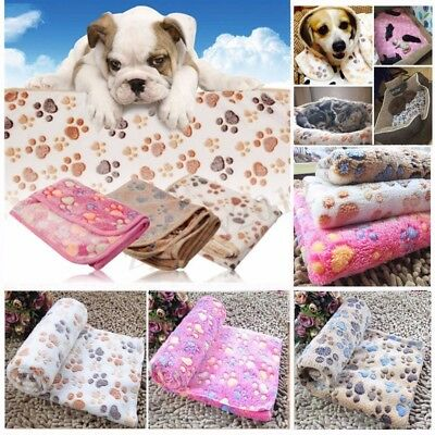 Dog Pet Puppy Cat Pig Small Large Warm Soft Blanket Beds Mat Paw Print Fleece