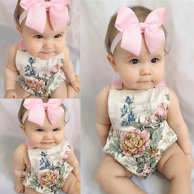 AU Adorable Newborn Toddler Baby Girl Clothes Lace Floral Romper Bodysuit Outfit