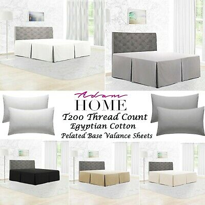 Egyptian Cotton 200TC Pleated Boxed Base Valance Sheets Single, Double, King, SK