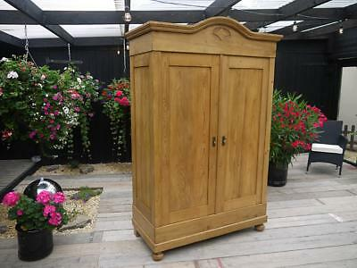 Lovely! Quality Original Old Antique Pine 'knock Down' Sectional Double Wardrobe
