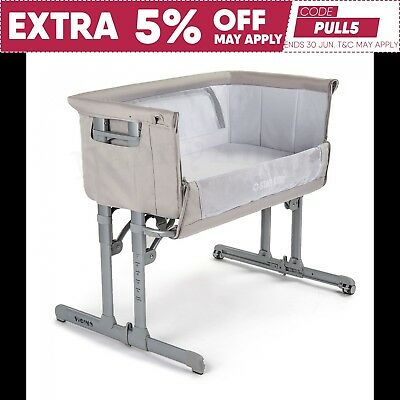 Star Kidz Vicino Deluxe Baby Bedside Co-sleeper Bassinet Cot - Silver Cloud