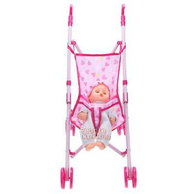 Dolls Buggy Stroller Pushchair Pram Foldable Girls Toy Baby Kids Trolley+Doll