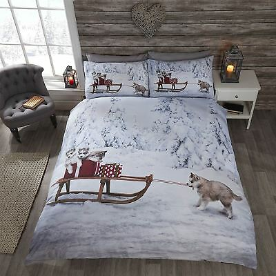 Huskies Husky Dogs Winter Snow Christmas Dog Bedding S/D/K