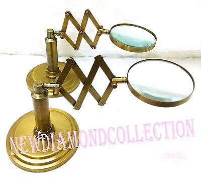 Pair Of  Antique Solid Brass Zig Zag Table Top Magnifying Handmade Magnifying
