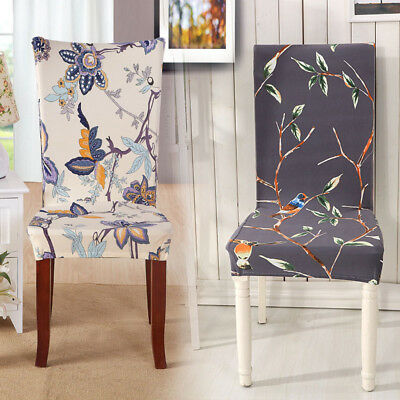 1Pcs Chair Decor Dining Room Removable Elastic Chair Cover Printing Chair Cover