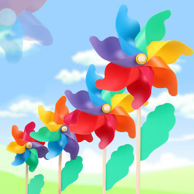 Multi Colorful Garden Windmill Wind Spinner Flower Window Home Decor Kids Toy