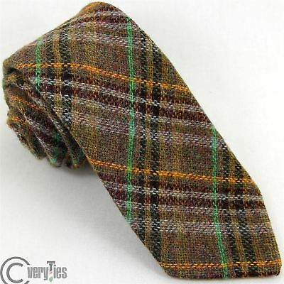 Cravatta  100% Lana CRAIGMILL Marrone Tartan Tie Unique Fashion