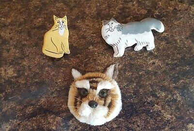Lot of 3 Cat Pins ~ 2 Vintage High-Fired Porcelain Jude Holdsworth and 1 Unknown