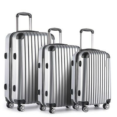 "NEW 3 Pcs Lightweight Hard Shell Travel Luggage 20"" 24"" 28"" w/ TSA Lock - Silver"