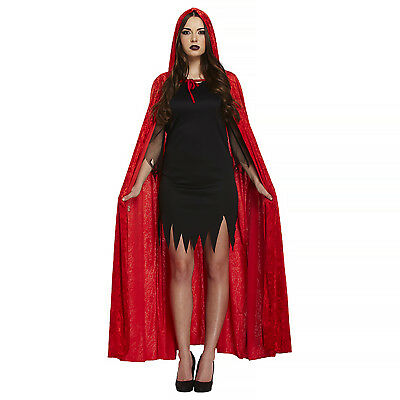 Velvet Hooded Cape Red Riding Hood Halloween Fancy Dress Costume Devil Womens