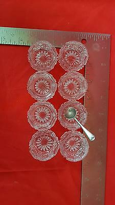 8 pcs Salt Dish Apple White Glass Hobnail Pattern with Silver Plate Spoon