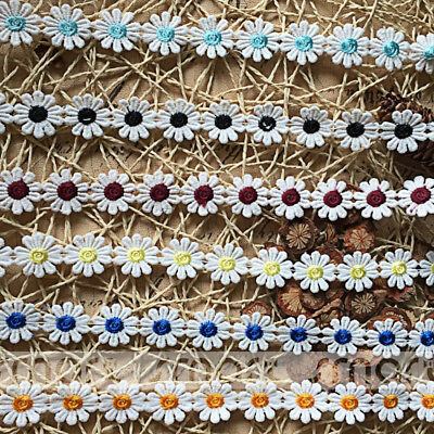 2 Yards Mixed Crochet Polyester Lace Trim Flower Embroidery Ribbon Sewing 2.5cm