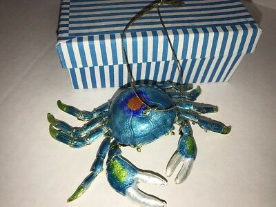 Blue Crab Hanging Ornament Articulated Cloisonne Beach Sand - 4152BT