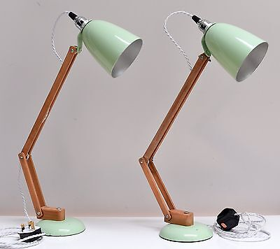 A pair of Vintage Conran 'Maclamp' Desk Lamps in Pastel Green