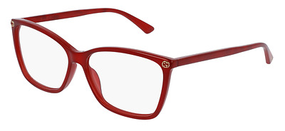 *NEW AUTHENTIC* GUCCI GG0025O 004 RED EYEGLASS FRAME, SIZE 56mm