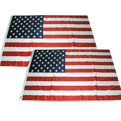 2x3 ft American Flag USA US Stars Grommets United States Polyester b - 2 PACK