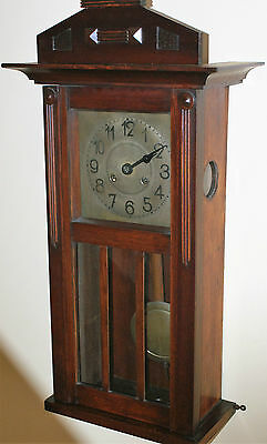 A Genuine Vintage Wall Cased Clock With Real Movement And Pendulum Circa 1930's
