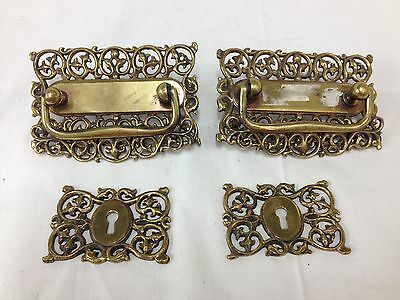 Victorian Floral Leaf Brass Drawer Pulls w/ 2 Keyhole Covers GRB Co 101 -  Lot 4