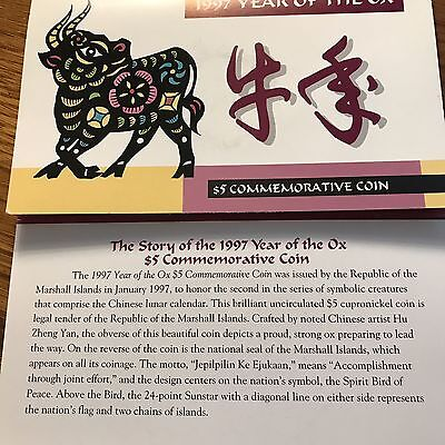 1997 Marshall Islands  $5.00 Coin- Year of the Ox  with Display Card and COA