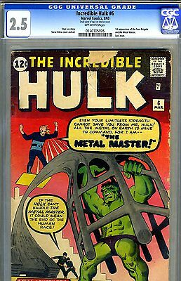 Incredible Hulk #6 CGC GRADED 2.5 - first Ditko Hulk cover - first Teen Brigade
