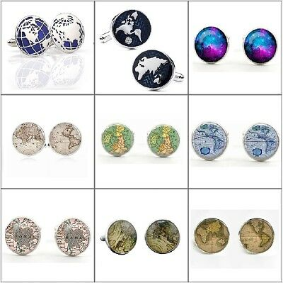 Mens Pair of Old World Map Cufflinks Silver Plated Vintage Atlas Earth Retro UK