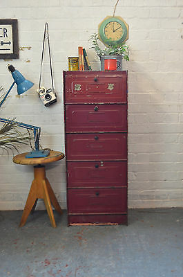 Vintage French Industrial Metal Filing Cabinet Kitchen Larder Locker