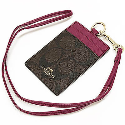 NWT Coach Sign PVC Lanyard ID Case in Brown/Fuchsia F 63274