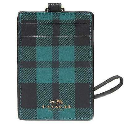 NWT Coach Plaid Print Lanyard ID Case in Atlantic Multi F 55992