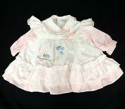 Vintage Baby Dress Pink Striped Blue Birds Pinafore Collar Lace Long Sleeves